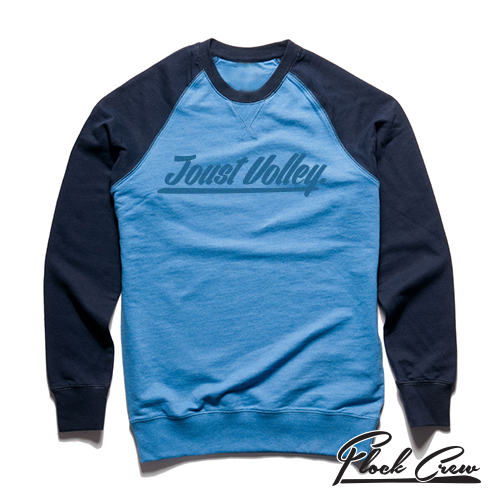 Joust Volley Flock Crew Jumper - Blue/Navy
